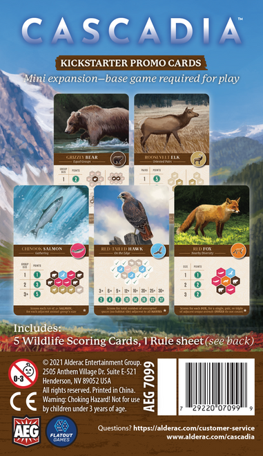 Cascadia Kickstarter Wildlife Scoring Cards