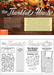 Thanksgiving Placemat: With Thankful Hearts - Packs of 50