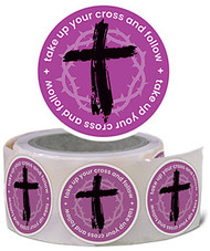 Lent Stickers - Take Up Your Cross and Follow (Stickers): Roll of 100