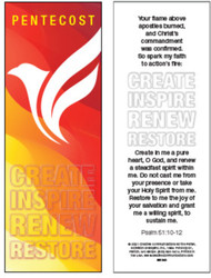 Pentecost Bookmark (Bookmark): Create Inspire Renew Restore - Pack of 25