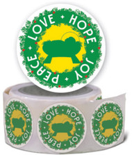 Advent Stickers - Love-Hope-Joy-Peace (Stickers): Roll of 100