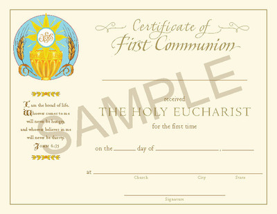 [Paraclete Sacramental Certificates] Certificate of First Eucharist (Pack of 25)