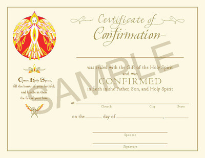 [Paraclete Sacramental Certificates] Certificate of Confirmation (Pack of 25)