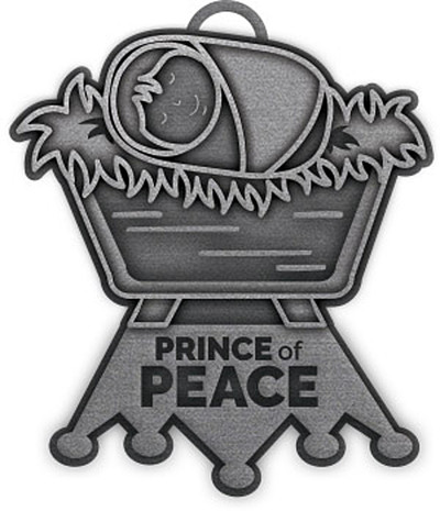 Prince of Peace Metal Christmas Ornament (Antiqued Pewter)