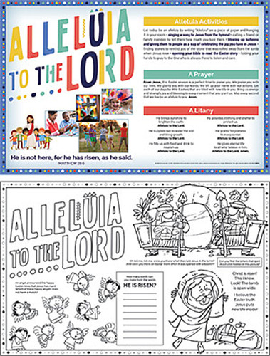 [Easter Event - Alleluia to the Lord!] Easter Parish Event Placemat (Placemats): Alleluia to the Lord - Pack of 50