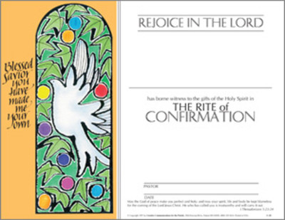 Sacrament of Confirmation Certificate: Rejoice in the Lord