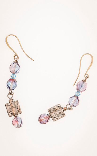Swarovski crystals with etched silver danglers