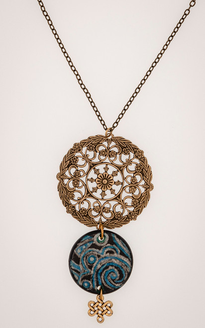 Blue and brass filigree necklace with hand colored elements