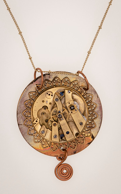 Reversible steampunk necklace with filigree