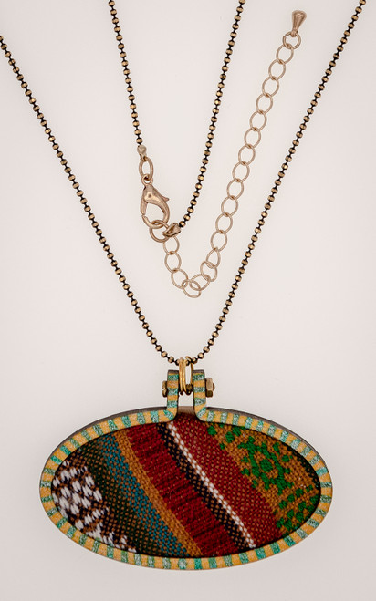 Necklace with artisan weaving and delicate ball chain