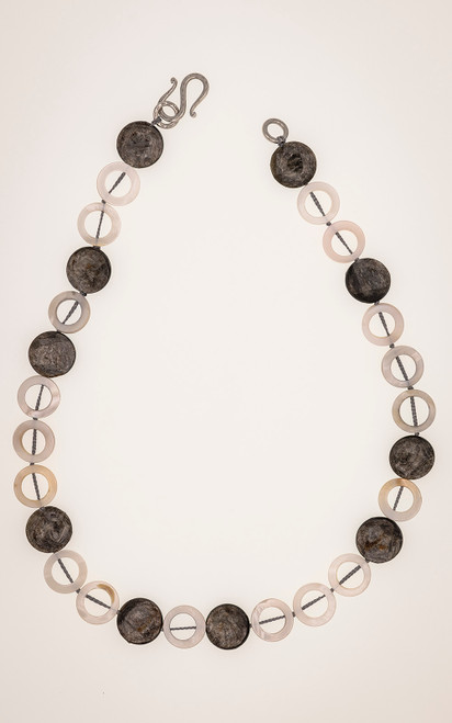 Hand knotted necklace in mother of pearl and mica coin beads