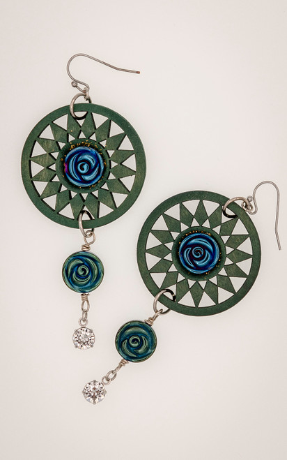 Statement earrings in shades of teal, blue and purple