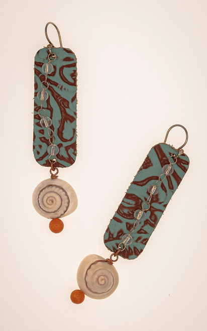 Teal embossed leather, shell and carnelian earrings
