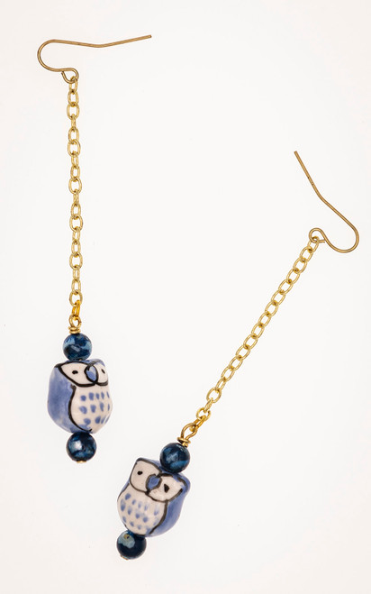 Blue owl earrings with lapis beads