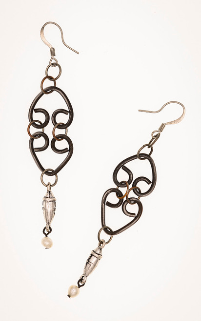 Hand forged heart earrings with silver and pearls