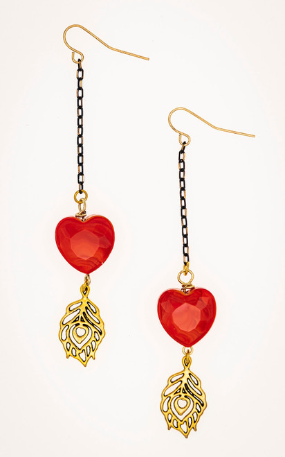 Red heart earrings with gold tone feather charm