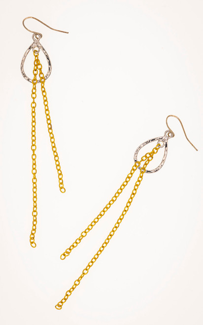 Simple dual tone earrings in silver and gold