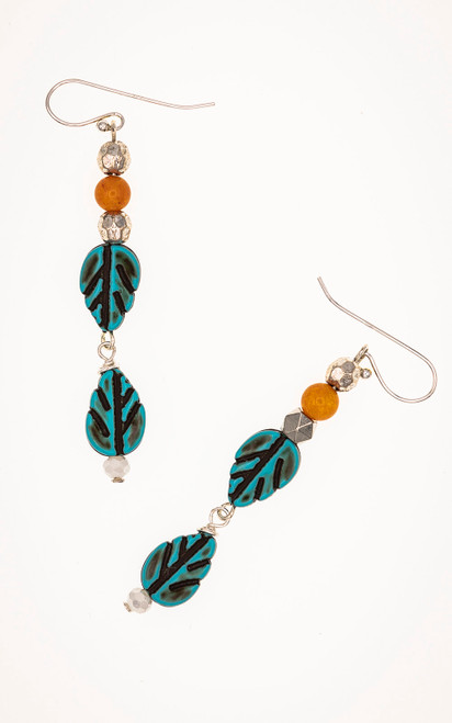 Everyday wear earrings with leaf beads, silver spacers, carnelian beads, and pearls