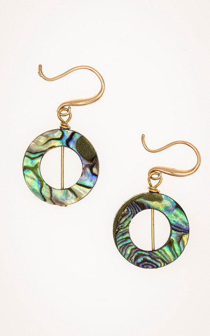Sophisticated earrings in abalone and gold