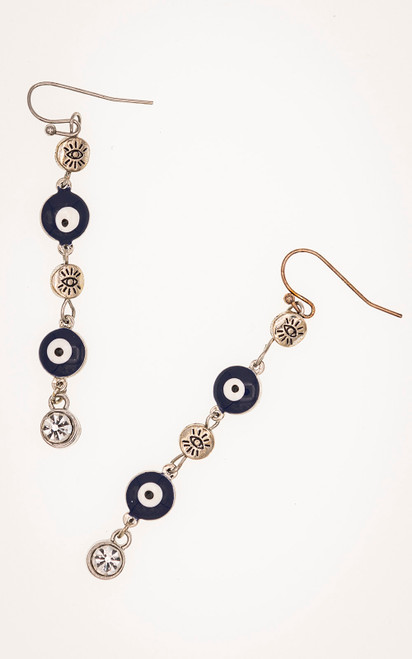 Blue eye beads paired with Swarovski crystals and silver beads in these earrings