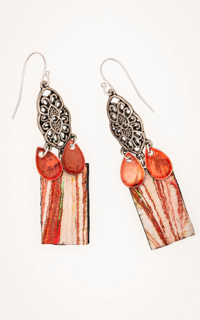 Read earrings with marbling and teardrop dangles in dyed shell