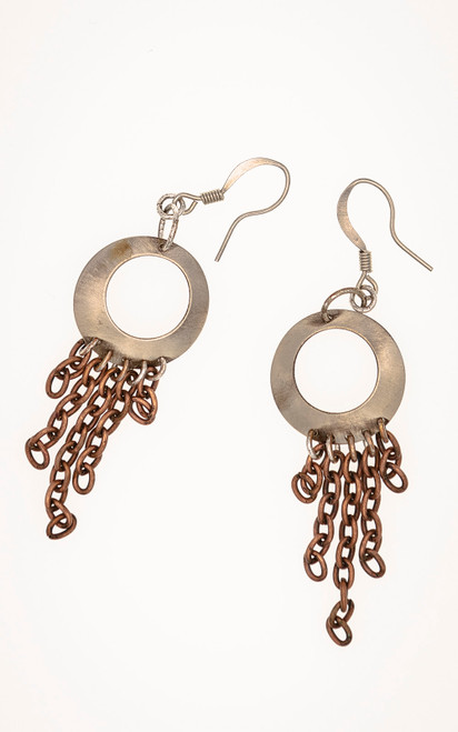 Silver circle and copper chain earrings