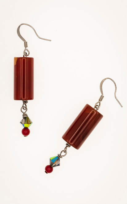 Joyful Carnelian earrings enhanced with a garnet and Swarovski bead