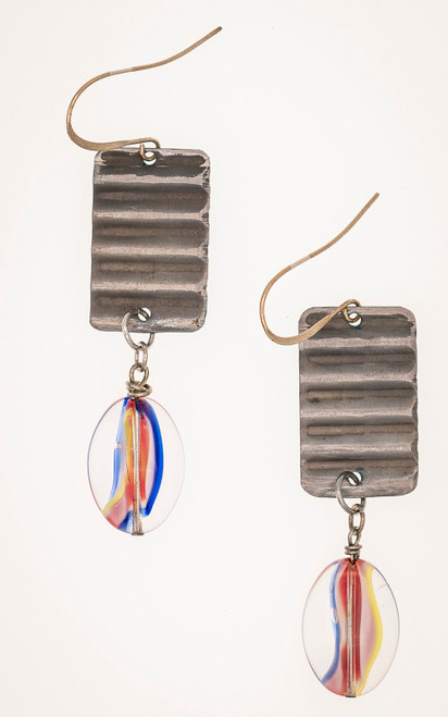 Galvanized metal and colorful glass earrings
