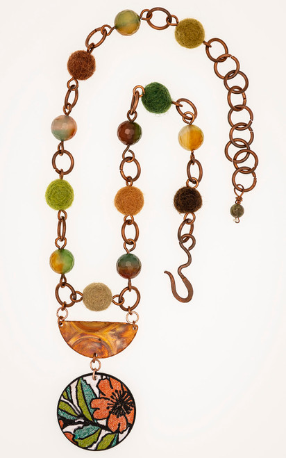 One of a kind necklace made with banded agate and felted beads that will take your breath away