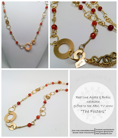 """Red Line Agate and brass necklace, gifted to the ABC Network TV show """"The Fosters"""""""