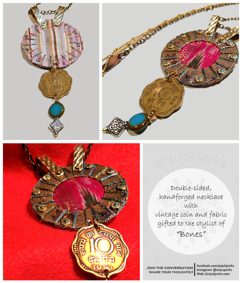 """Double-sided hand forged necklace with vintage coin and fabric, gifted to the FOX Network TV show """"BONES"""""""