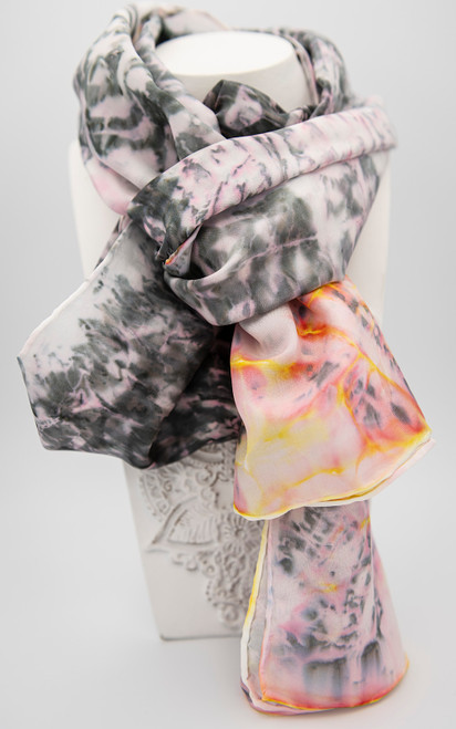 Hand painted 100% silk scarf with salt resist, silk dyes, and hand rolled edges