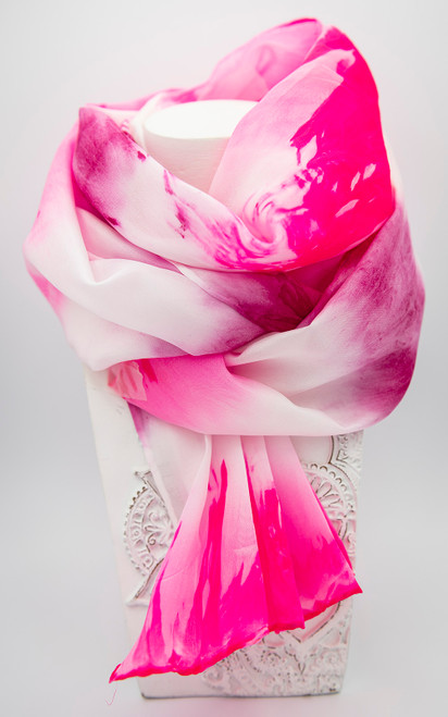 Hand painted 100% silk scarf with silk dyes and hand hemmed edges
