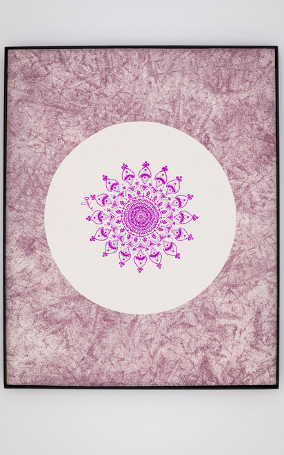An unusual shade of magenta is paired with metallic mauve to create a stylized rosette, beautiful in its symmetry