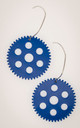 Steampunk gear earrings in blue color