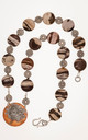 Hand knotted picture jasper coins with copper and stamped silver solder pendant