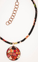 Colorful necklace in shades of orange and red complemented by a matching rayon cording