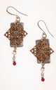 Copper filigree earrings with silver, pearls and garnet