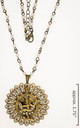 Strong focal brass pendant with pearl and brass chain