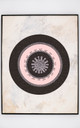 Pink and white of the concentric circles are reflected in the central design of this artwork. Repeated OM symbols make this the perfect piece for meditative practice