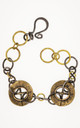 Edgy bracelet in annealed iron wire and vintage gold tone