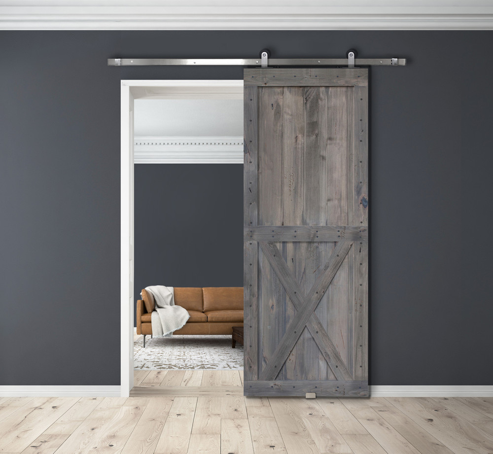 Coal Grey Two Panel X BarnWood Two Piece barn door