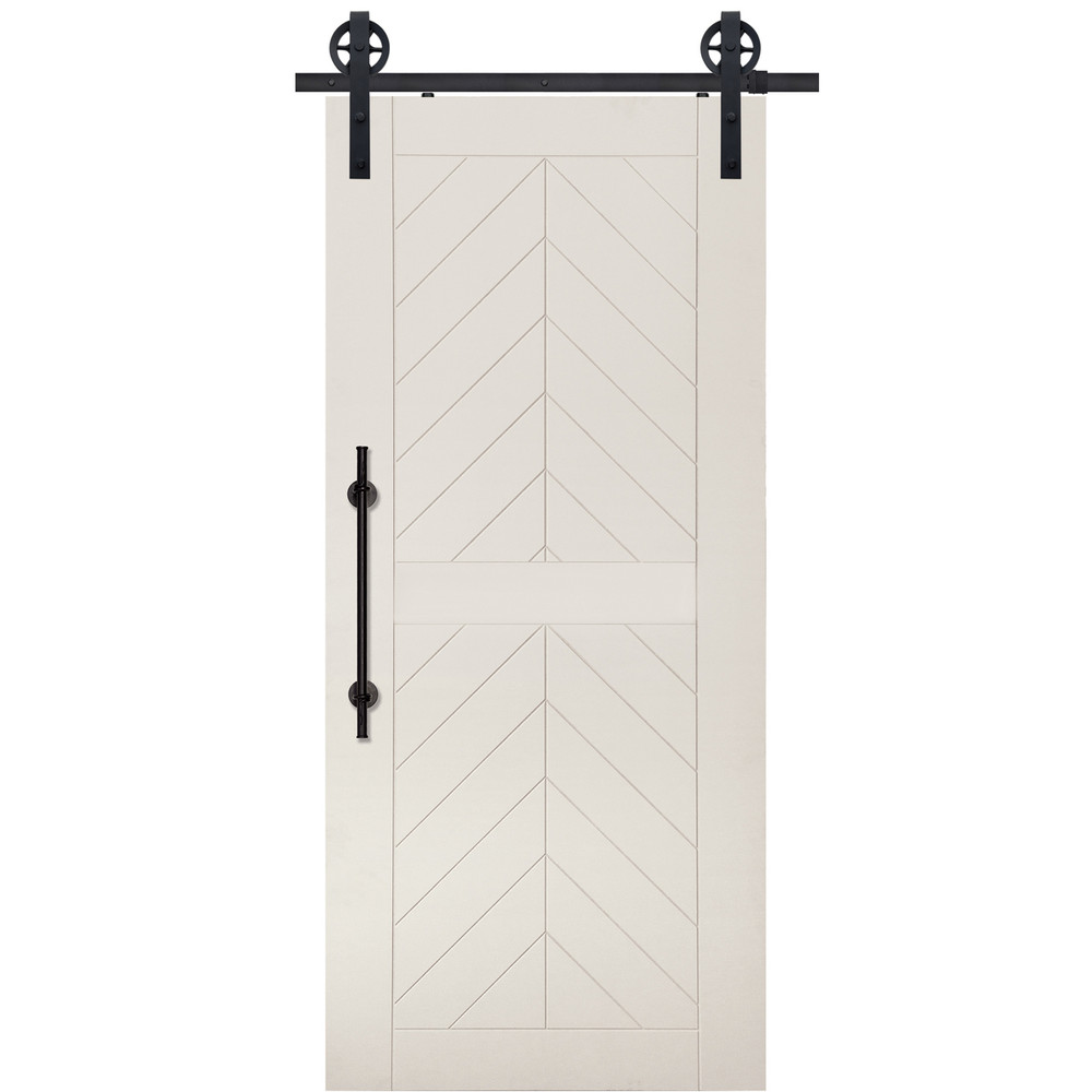 2 Panel Chevron MDF Barn Door in Sand FInish