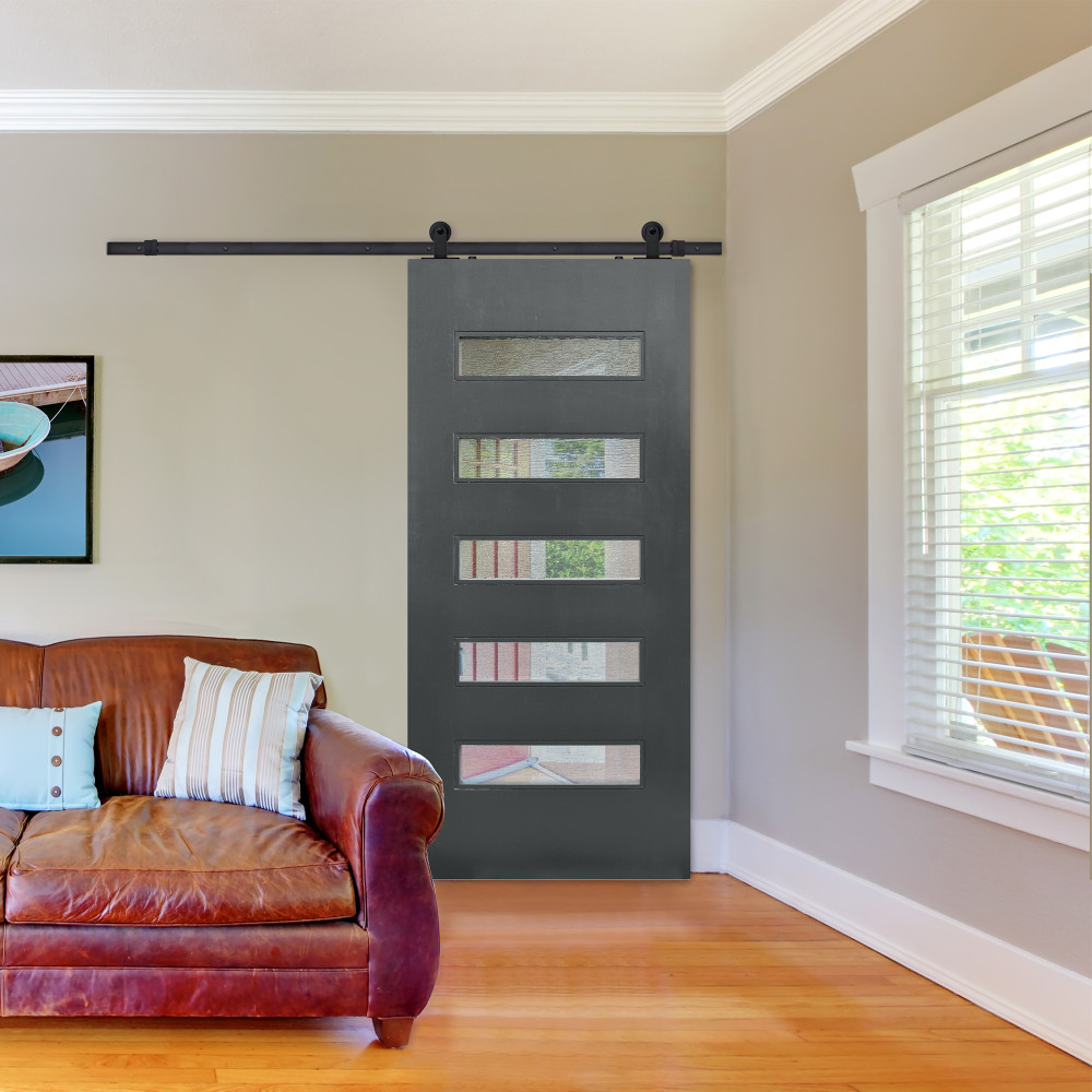 Beverly Modern Barn Door with slate grey finish