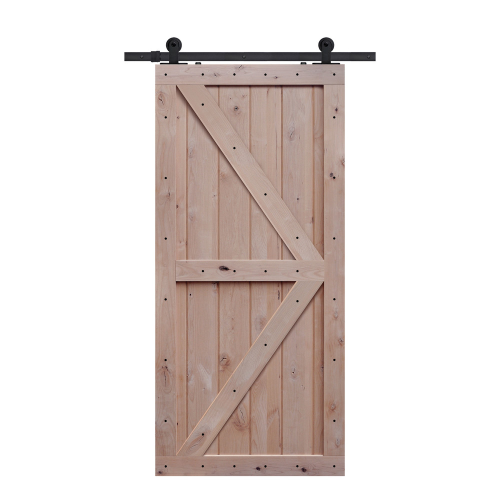 barncraft z two panel barn door unfinished with hardware