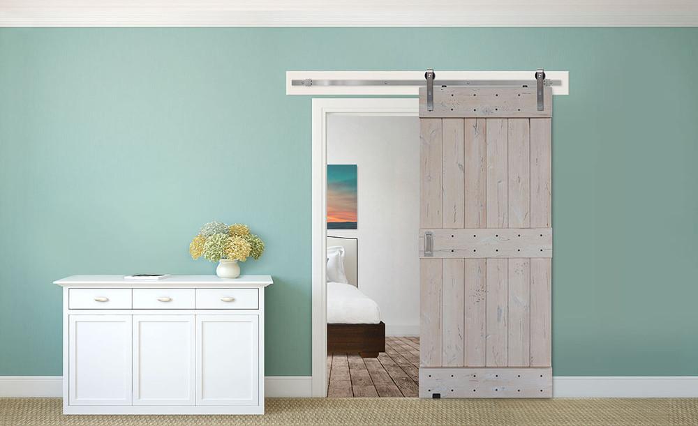 Barn Door Product Spotlight: Mid Rail Plank Barn Door + Vista Barn Door Pull Handle