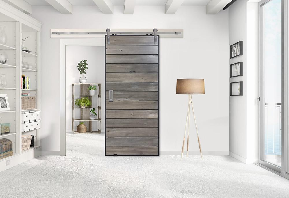   Barn Door Product Spotlight: Horizontal Iron Plank Barn Door + Stainless Steel Slade Hardware Kit