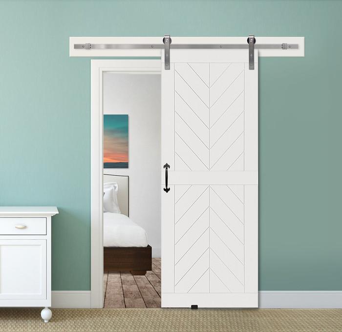 Door & Hardware Spotlight: Chevron MDF Two Piece Barn Door + Corona Barn Door Pull Handle