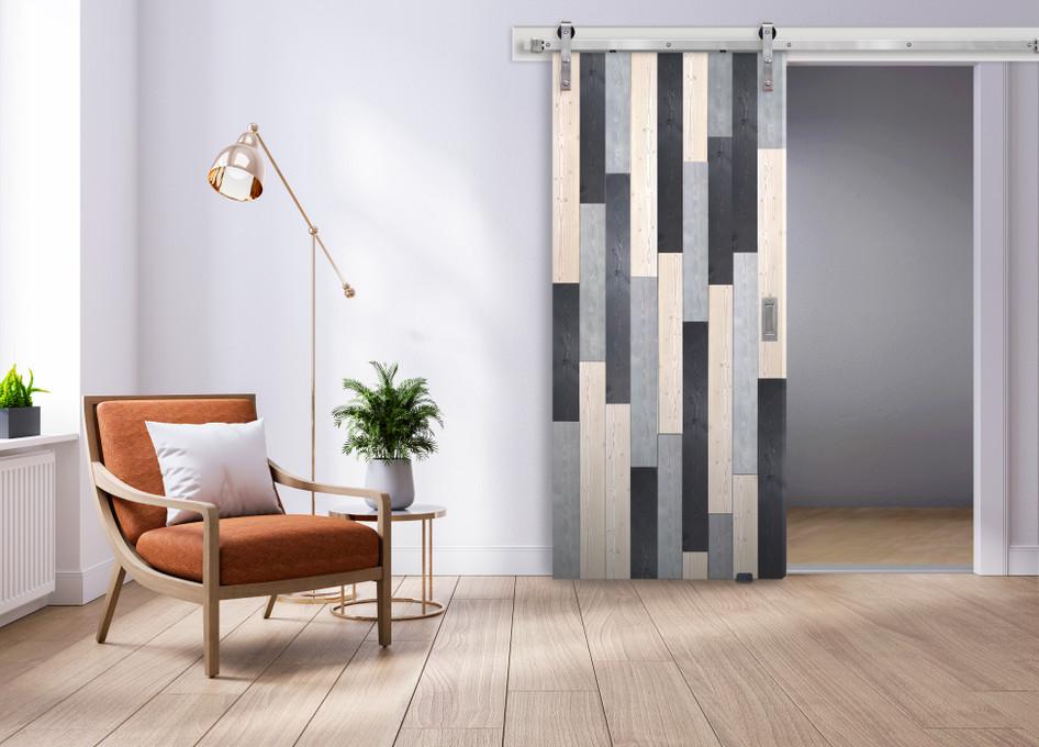 Door & Hardware Spotlight: White Rock Barn Door + Stainless Steel Gage Hardware Kit
