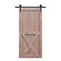 x two panel barn door unfinished with hardware